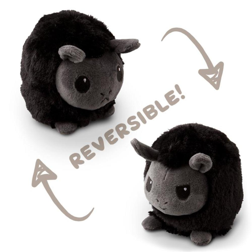 Reversible Llama Mini Black and Gray Plushie TeeTurtle
