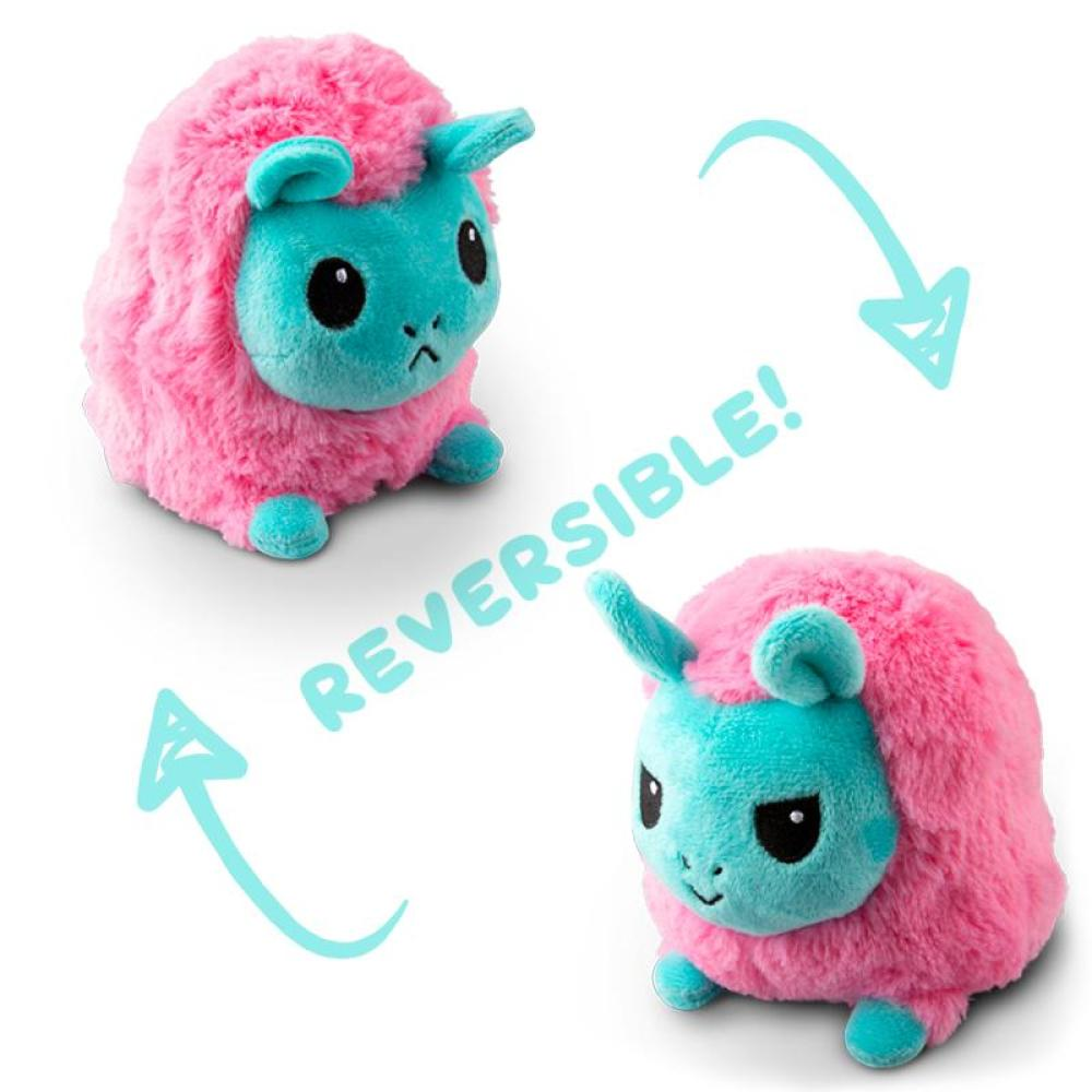 Reversible Llama Mini Lt. Blue and Lt Pink Plushie TeeTurtle