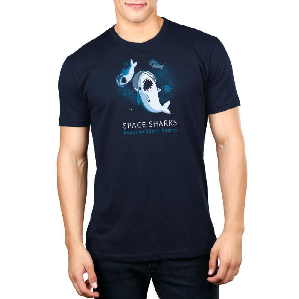 Space Sharks Men's t-shirt model TeeTurtle navy t-shirt featuring three sharks in astronaut helmets in space