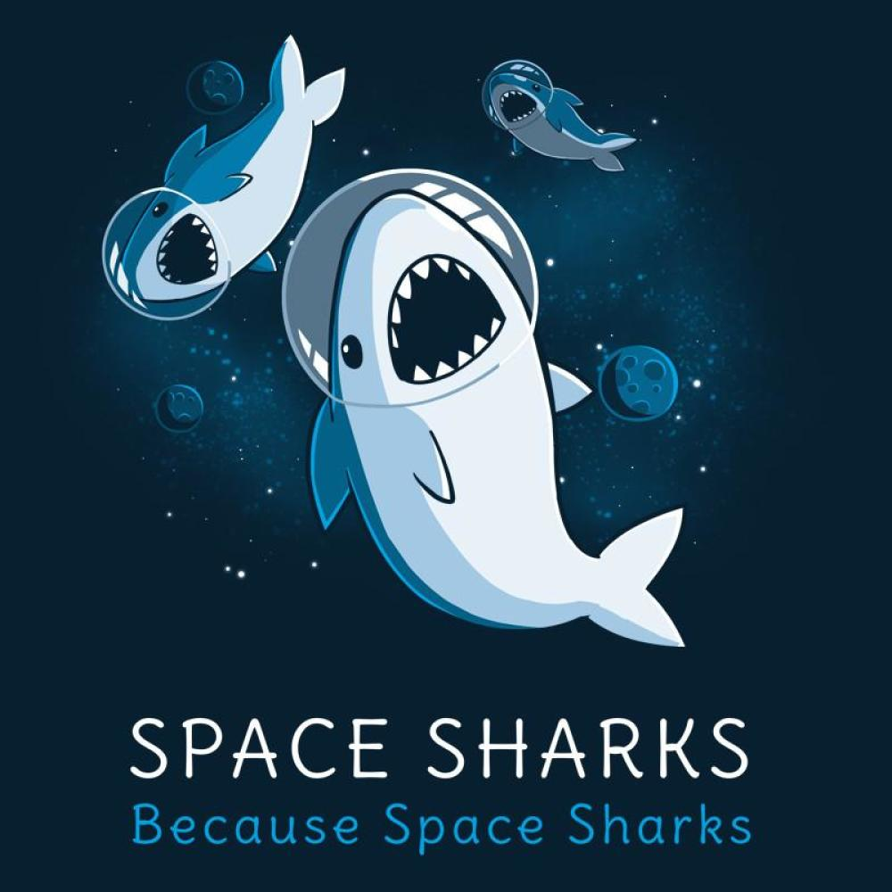 Space Sharks t-shirt TeeTurtle navy t-shirt featuring three sharks in astronaut helmets in space