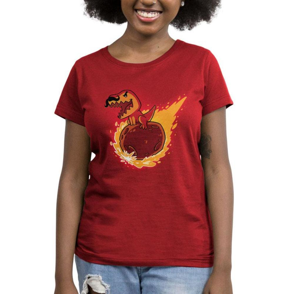 T-Wrecks t-shirt garnet red t-shirt featuring a dinosaur with a mustache riding a meteor thats on fire