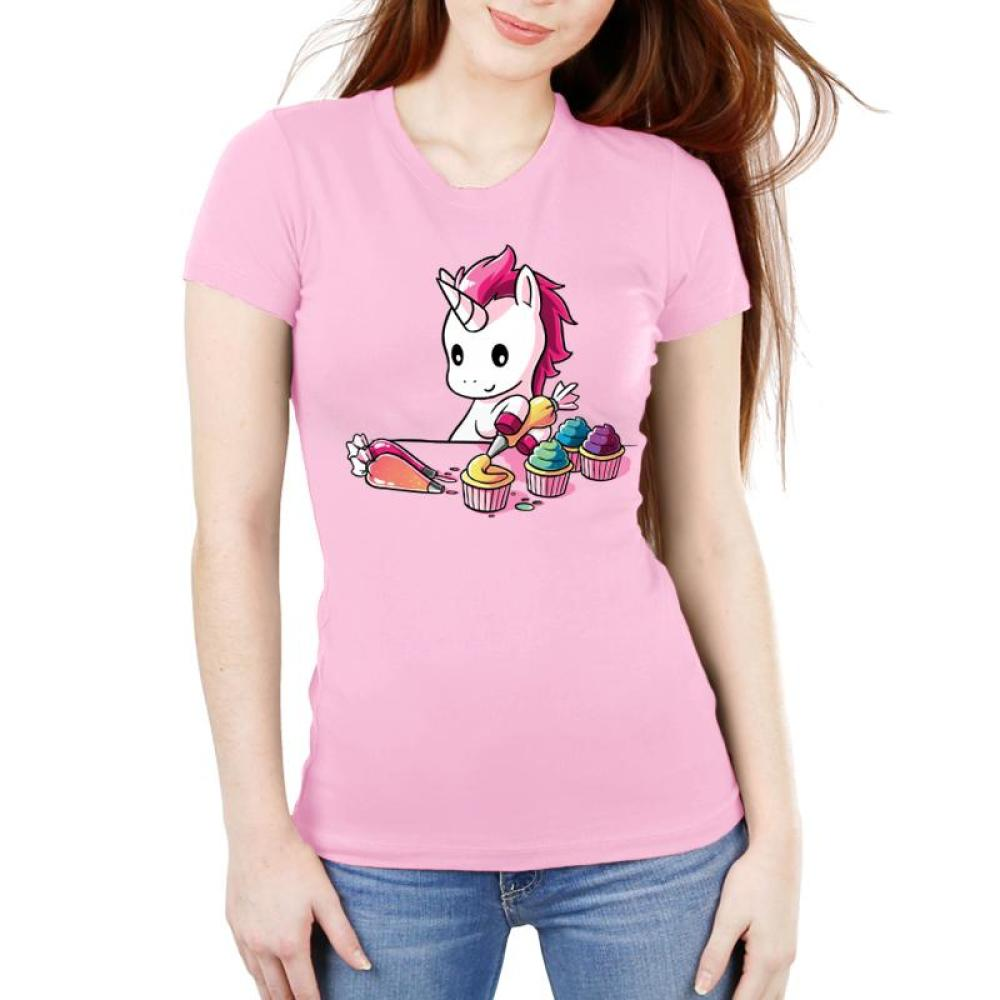 Rainbow Cupcakes Women's Ultra Slim T-Shirt Model TeeTurtle