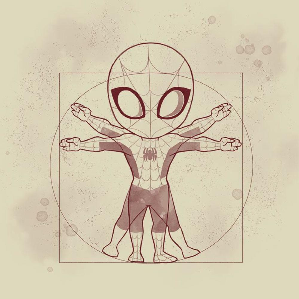 Vitruvian Spider-Man T-Shirt Marvel TeeTurtle