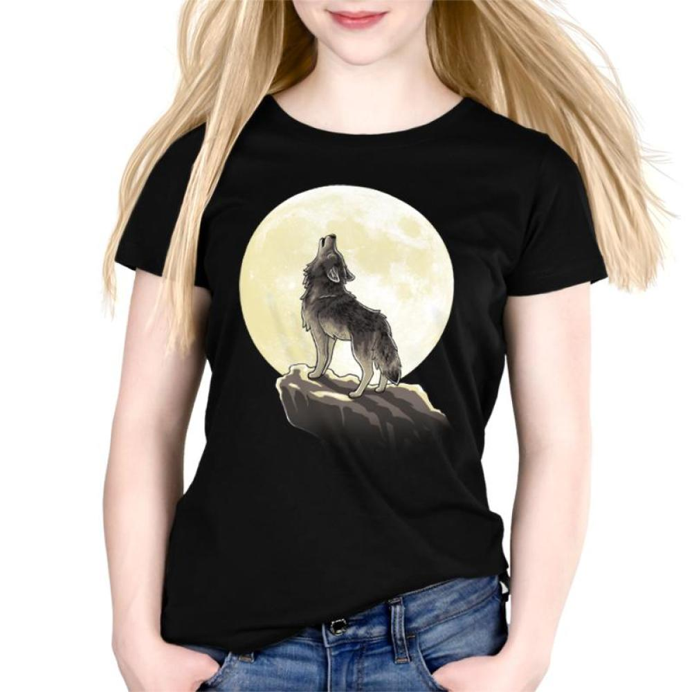 Howl At The Moon Women's Relaxed Fit T-Shirt Model TeeTurtle