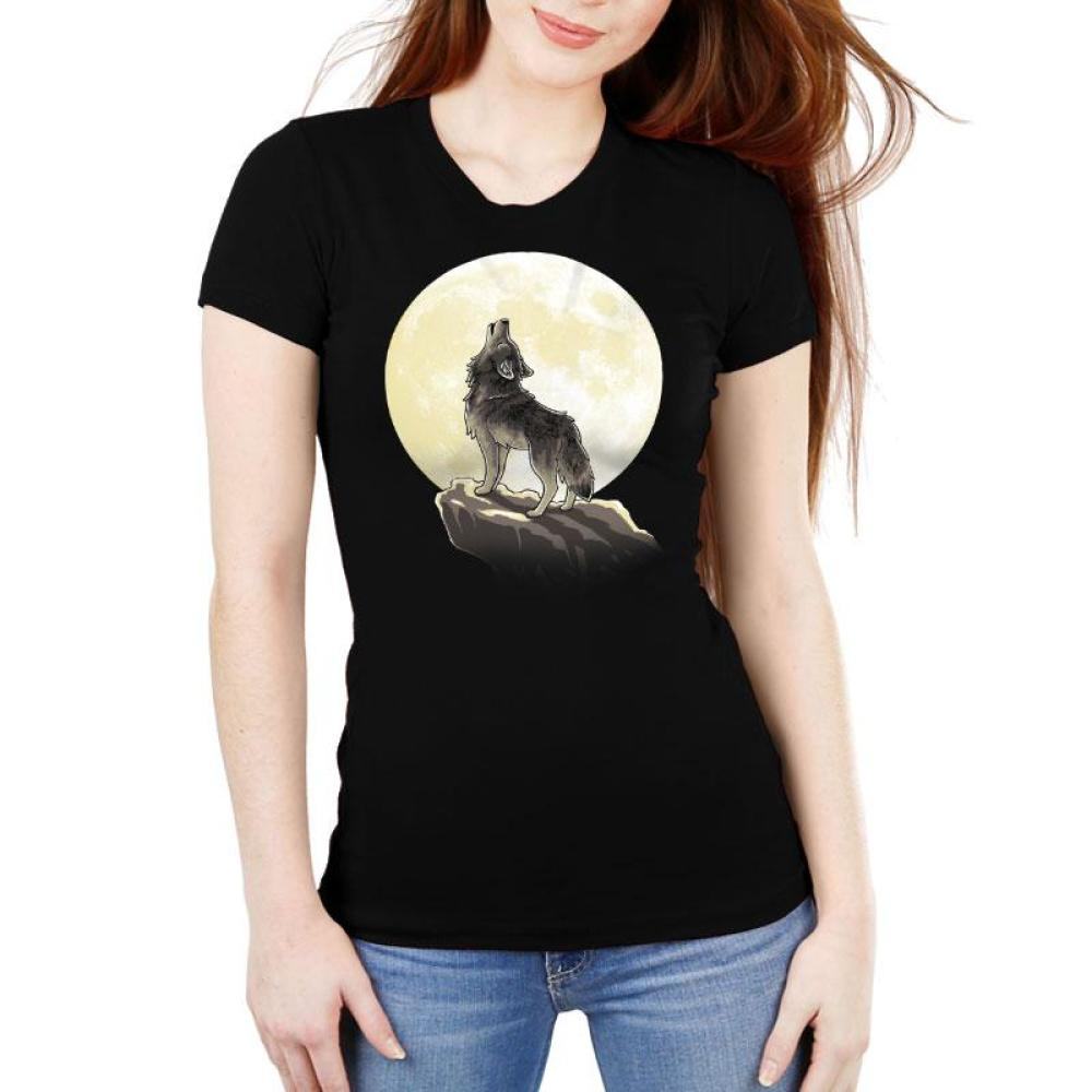 Howl At The Moon Women's Ultra Slim T-Shirt Model TeeTurtle