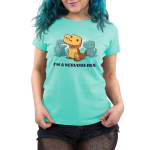 Nervous Rex t-shirt chill blue t-shirt featuring an orange dinosaur looking panicked with a near running down its face with two blue dinosaurs in the background