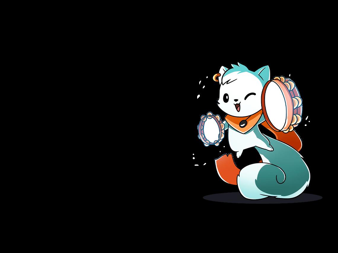 Bard cat with tambourine